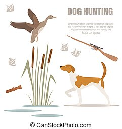 Dog hunting Flat style Vector illustration