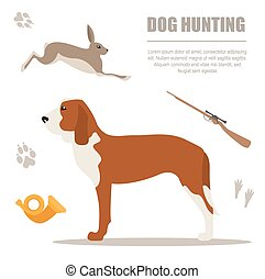 Dog hunting. Flat style. Vector illustration
