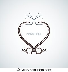 coffee cup love concept vector background