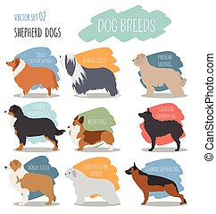 Dog breeds Shepherd dog set icon Flat style Vector...