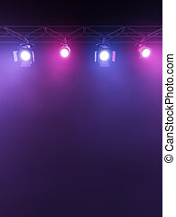 Stage Lights - A Stage Light Rack with 3 RGB Colored...