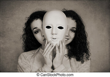 two-faced woman manic depression concept - two-faced happy...