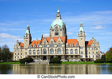 New Town Hall in Hannover Germany - New City Hall building...