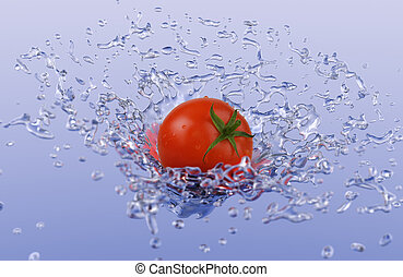 Tomato Splash - A ripe tomato suspended in the air with a...