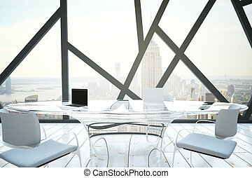 Conference room interior - 3D Rendering of bright modern...