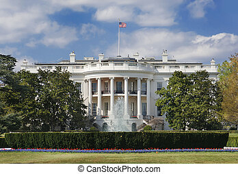 White House - The White House in Washington DC on a partly...