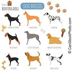 Dog breeds Hunting dog set icon Flat style Vector...