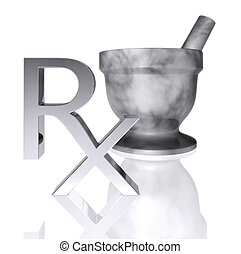 RX & pestle - A chromed metal Medical Rx