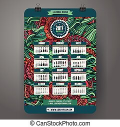 Doodles cartoon floral Calendar 2017 year design, English,...