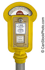 Retro Parking Meter - Retro Parking meter isolated on white...