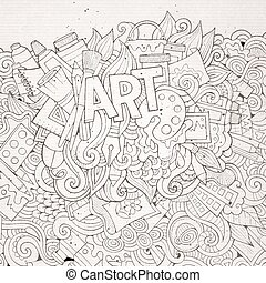 Art hand lettering and doodles elements background Vector...