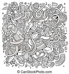 Cartoon hand-drawn doodles Latin American illustration. Line...