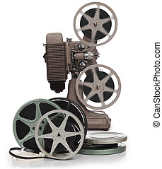 Movie film reels and projector on white - Movie film reels...