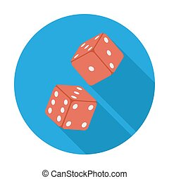 Craps flat icon - Craps icon Flat vector related icon whit...