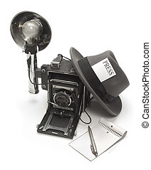 Reporter - Retro photo journalist camera, fedora hat with a...