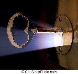 Unlocking Dreams - A close-up of a key inside the key hole.