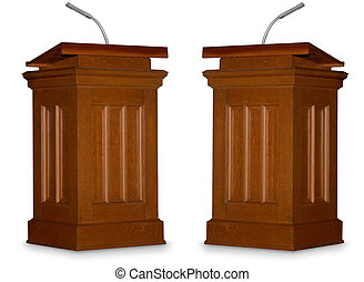 Debate - Two opposing podiums isolated on white background...