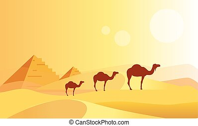 Camel Caravan And Pyramides Flat Bright Color Simplified...