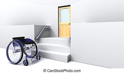 wheelchair in front of steps to a door - 3d render of a...