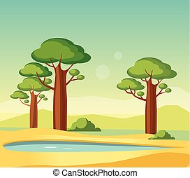 Oasis With Baobabs Flat Bright Color Simplified Vector...
