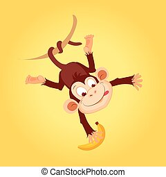 Monkey Hanging On Liana Flat Bright Color Simplified Vector...