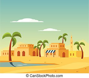 Oasis With The Town In Desert Flat Bright Color Simplified...