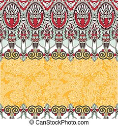 ethnic stripe ornament on floral background, perfect for...