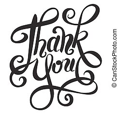black and white thank you handwritten lettering inscription...