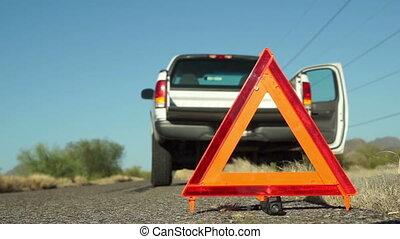 Truck Broken Down Emergency - Broken down truck with hazard...