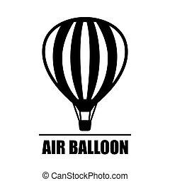 Vector hot air ballon icon - Vector black hot air ballon...
