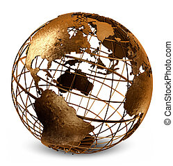 Caged Globe - 3D art showing a caged brass metalic structure...