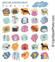 Dog icon set. Heatlh care, vet, nutrition, exhibition....