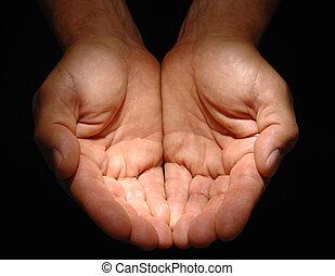 cupped, mãos