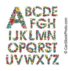 Colorful floral alphabet ABC Grotesque capital letters with...