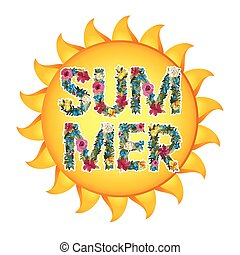 Summer Illustration Vector shiny sun With floral letters...