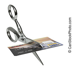 Credit Card Dispoal - A pair of scissors cutting a credit...