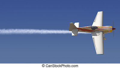 Sky Writing - Single engine plane in the sky with a trail of...