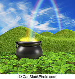 End of the Rainbow - A pot at the end of the rainbow shown...