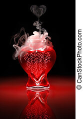 Love Potion #9 - Open heart-shaped bottle of red, bubbling,...