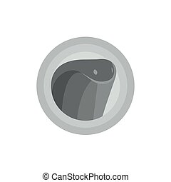 Snake cobra animal into flat vector illustration in monochrome modern trends logo