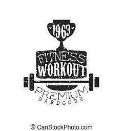 Vintage Gym Fitness Stamp Collection Of Monochrome Vector...