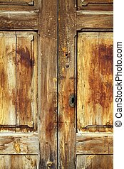 aged golden weathered wooden door retro vintage