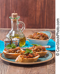sandwiches with eggplant caviar and parsley