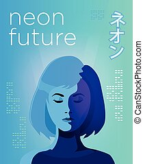 Neon futuristic poster Vivid colored illustration of young...
