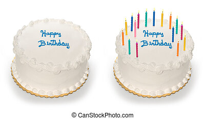 Birthday Cake - Birthday cake isolated on white with...