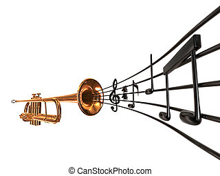 Coronet & Notes - brass cornet at slight angle with a curved...