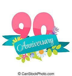 Cute Template 90 Years Anniversary Sign Vector Illustration...