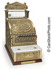 Ornate Cash Register - Vintage brass cash register isolated...