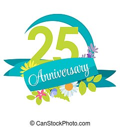 Cute Nature Flower Template 25 Years Anniversary Sign Vector...