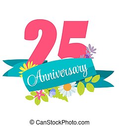 Cute Template 25 Years Anniversary Sign Vector Illustration...